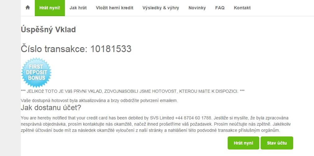 2. krok vklad kreditní kartou na Megaloto