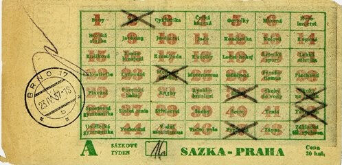 Sázenka Sportky z roku 1957