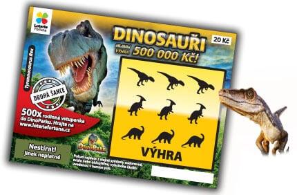 Stírací los Dinosauři od společnosti Loterie Fortuna