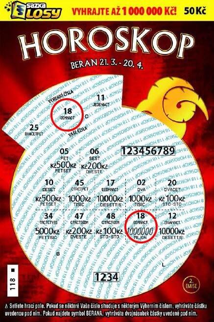 Ukázk setřeného stíracího horoskop za 50kc od sazky
