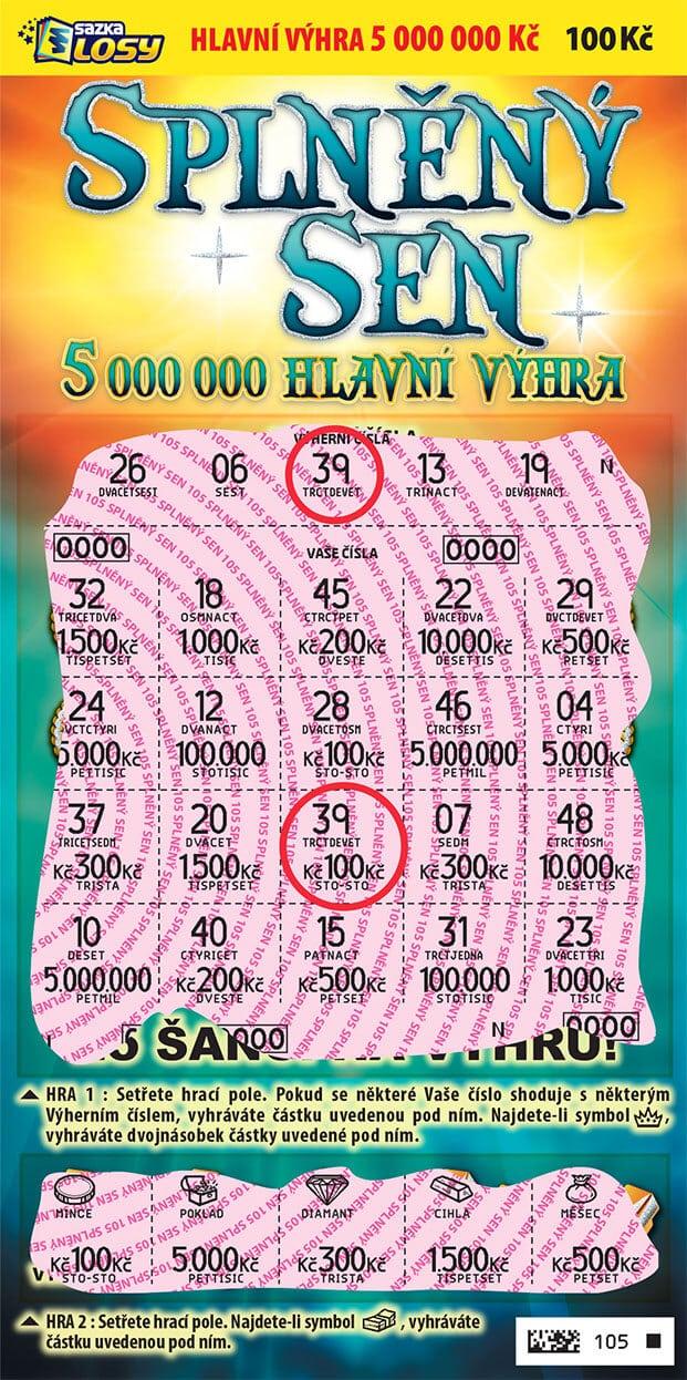 Ukázka setřené okamžité loterie Splněný sen od sazky