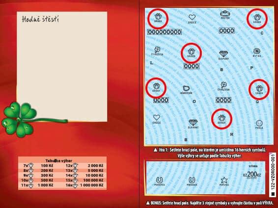 Ukázka setřeného stíracího losu od Sazky - Hodně štěstí