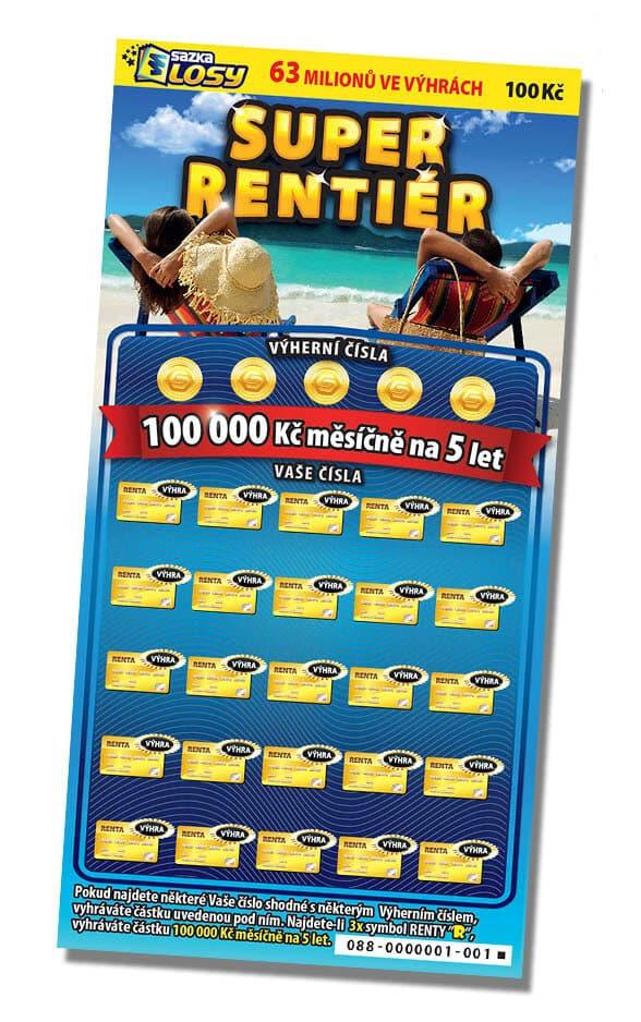 Ukázka stíracího losu od sazky -super rentiér za 100kč