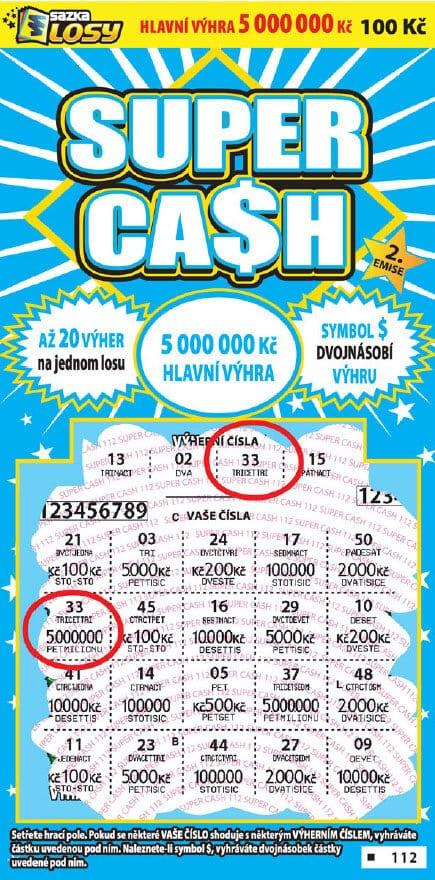 Ukázka stíracího losu od společnosti Sazka - Super cash