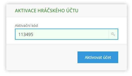 Zadání aktivačního kódu z emailu při konci registrace účtu na webu účtenkova.cz