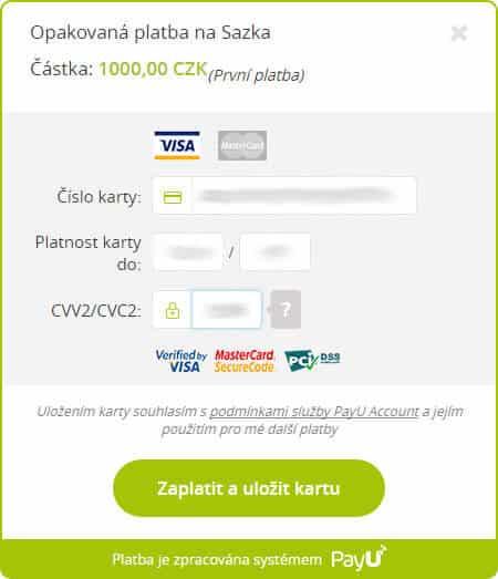 Vklad kreditní kartou na Sazku - 5. krok údaje z karty