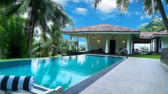 Dům s bazénem a palmami okolo