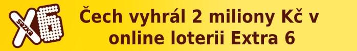 Čech vyhrál 2 miliony Kč v online loterii Extra 6